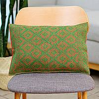 Cotton cushion cover, 'Strawberry Lime' - Cotton Cushion Cover in Strawberry and Lime from Mexico