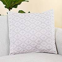 Cotton cushion cover, 'Pure Geometry' - Cotton Cushion Cover in White and Smoky Beige from Mexico