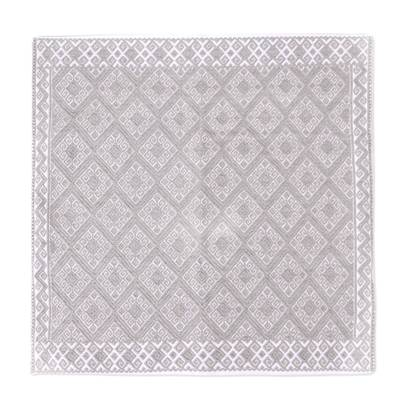 Cotton Cushion Cover in White and Smoky Beige from Mexico