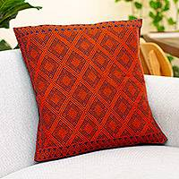 Cotton cushion cover, 'Sunrise Geometry' - Geometric Cotton Cushion Cover in Sunrise and Midnight