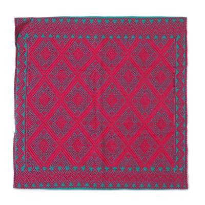 Cotton Cushion Cover in Ruby and Emerald from Mexico