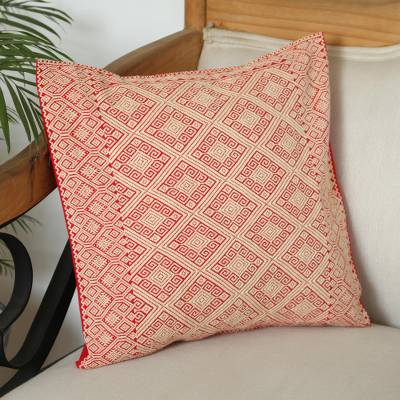 Cotton cushion cover, 'Regal Antiquity' - Cotton Cushion Cover in Pale Yellow and Strawberry