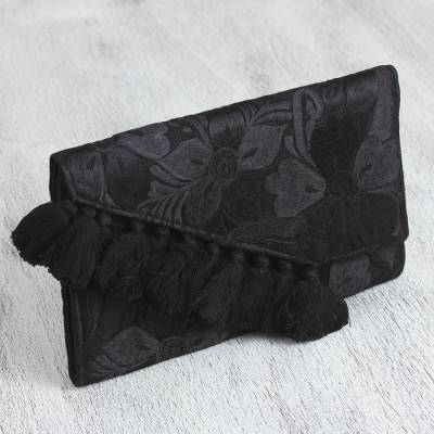 Satin clutch purse, 'Dark Flowers' - Floral Satin Clutch Purse in Black from Mexico