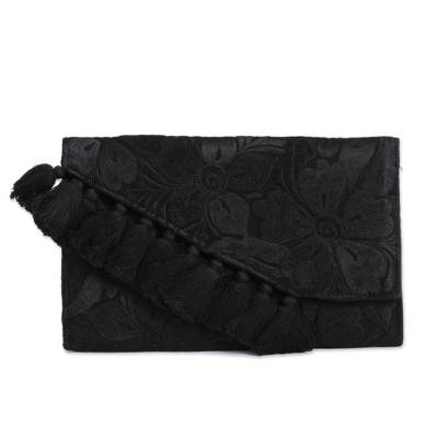 Floral Satin Clutch Purse in Black from Mexico