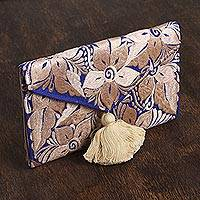 Satin coin purse, 'Buff Bouquet' - Embroidered Satin Coin Purse with Buff Floral Motifs