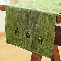 Cotton table runner, 'Avocado Heather' - Handwoven Cotton Table Runner in Avocado from Mexico