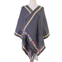 Cotton shawl, 'Azure Bloom' - Handwoven Cotton Shawl in Azure from Mexico
