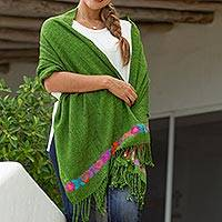 Cotton shawl, 'Spring Bouquet in Peridot' - Handwoven Floral Cotton Shawl in Peridot from Mexico