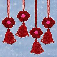 Cotton ornaments, 'Flower Festivity in Cherry' (set of 4) - Floral Cotton Ornaments in Cherry from Mexico (Set of 4)