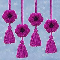 Cotton ornaments, 'Flower Festivity in Magenta' (set of 4) - Floral Cotton Ornaments in Magenta from Mexico (Set of 4)