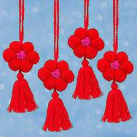 Cotton ornaments, 'Flower Festivity in Crimson' (set of 4) - Floral Cotton Ornaments in Crimson from Mexico (Set of 4)