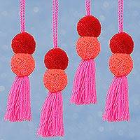 Cotton ornaments, 'Tasseled Pompoms' (set of 4) - Cotton Pompom Ornaments in Candy Apple and Rose (Set of 4)