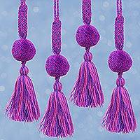 Cotton ornaments, 'Majestic Pompoms' (set of 4) - Cotton Ornaments in Orchid and Blue-Violet (Set of 4)