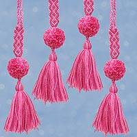 Cotton ornaments, 'Sweet Pompoms' (set of 4) - Cotton Ornaments in Mauve and Carnation (Set of 4)