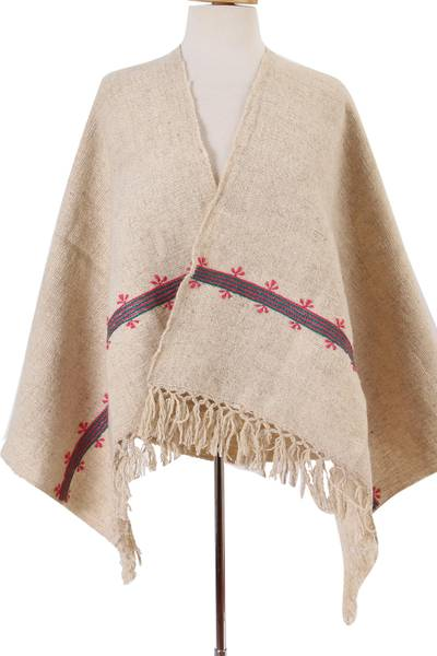 Wool shawl, 'Mayan Landscape in Ivory' - Handwoven Wool Shawl in Ivory from Mexico