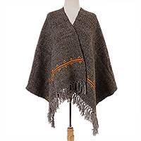 Wool shawl, 'Mayan Landscape in Slate' - Handwoven Wool Shawl in Slate from Mexico