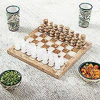Onyx and marble chess set, 'Brown and Ivory Challenge' (7.5 inch)