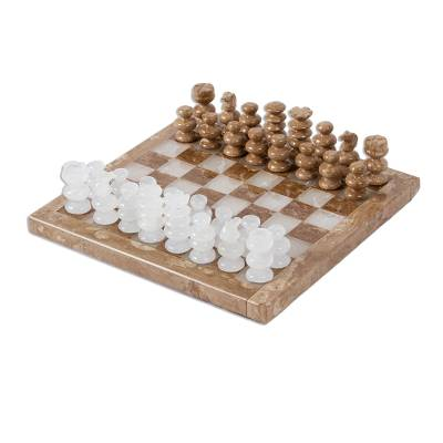 Onyx and marble chess set, 'Brown and Ivory Challenge' (7.5 inch) - Onyx and Marble Chess Set in Brown and Ivory (7.5 in.)