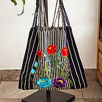 Cotton tote, 'Navy Bouquet' - Striped Floral Cotton Tote in Navy from Mexico