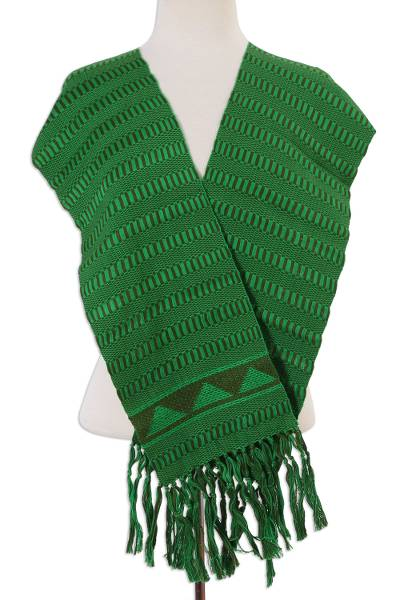 Cotton scarf, 'Illusive Green' - Handwoven Cotton Wrap Scarf in Meadow and Olive from Mexico