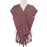 Cotton scarf, 'Illusory Chevrons' - Handwoven Cotton Wrap Scarf in Poppy and Ash from Mexico
