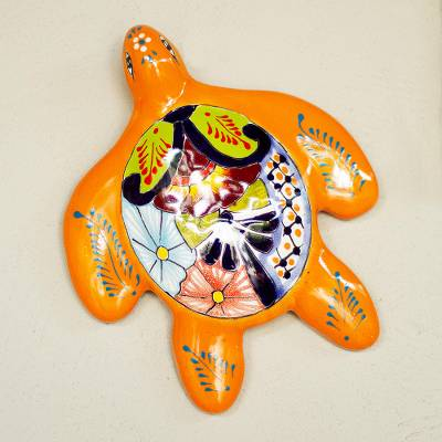 Ceramic wall sculpture, 'Lively Turtle' - Lively Turtle Talavera Ceramic Wall Sculpture from Mexico