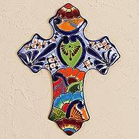 Ceramic wall cross, 'Hacienda Faith' - Hand-Painted Ceramic Wall Cross from Mexico