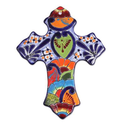 Hand-Painted Ceramic Wall Cross from Mexico
