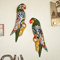 Ceramic wall sculptures, 'Parrot Friends' (pair) - Ceramic Parrot Wall Sculptures from Mexico (Pair)