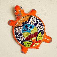 Ceramic wall sculpture, 'Round Turtle' - Hand-Painted Ceramic Turtle Wall Sculpture from Mexico