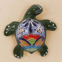 Ceramic wall sculpture, 'Delightful Turtle' - Ceramic Turtle Wall Sculpture in Green from Mexico
