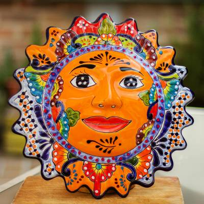 Ceramic wall sculpture, 'Luz del Sol' - Hand-Painted Ceramic Sun Wall Sculpture from Mexico