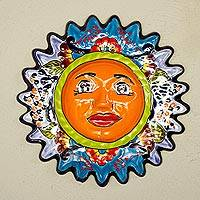 Ceramic wall sculpture, 'Sweet Sun' - Handmade Ceramic Sun Wall Sculpture from Mexico