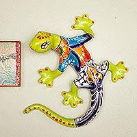Ceramic wall sculpture, 'Vibrant Salamander' - Hand-Painted Ceramic Salamander Wall Sculpture from Mexico