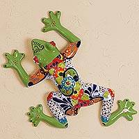 Ceramic wall sculpture, 'Vibrant Frog' - Hand-Painted Ceramic Tree Frog Wall Sculpture from Mexico