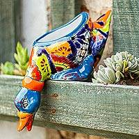 Ceramic flower pot, 'Feeding Duck' - Hand-Painted Ceramic Duck Flower Pot from Mexico