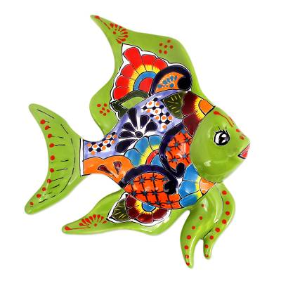 Hand-Painted Ceramic Fish Wall Sculpture from Mexico