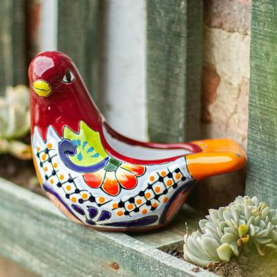 Ceramic flower pot, 'Sweet Dove' - Hand-Painted Ceramic Dove Flower Pot from Mexico