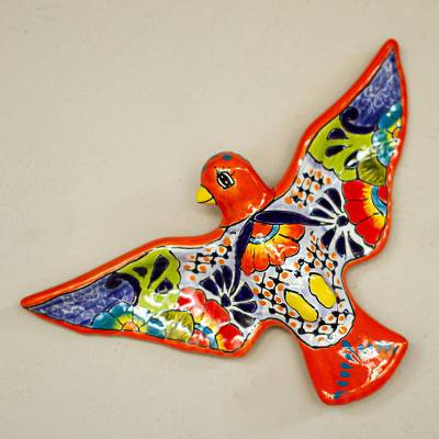 Ceramic wall sculpture, 'Colorful Dove' - Hand-Painted Ceramic Dove Wall Sculpture from Mexico
