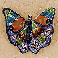 Ceramic wall sculpture, 'Hacienda Butterfly' - Hand-Painted Ceramic Butterfly Wall Sculpture from Mexico