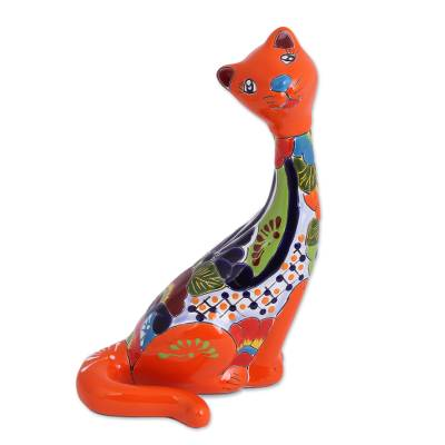 Hand-Painted Ceramic Cat Sculpture from Mexico
