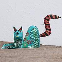 Wood alebrije figurine, 'Lounging Cat in Turquoise' - Handcrafted Turquoise Wood Alebrije Lounging Cat Figurine