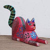 Wood alebrije figurine, 'Lounging Cat in Pink' - Handcrafted Pink Wood Alebrije Lounging Cat Figurine