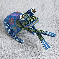 Wood alebrije figurine, 'Hand Jive Frog in Blue' - Handcrafted Blue Wood Alebrije Playful Frog Figurine