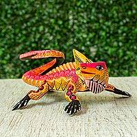 Wood alebrije sculpture, 'Vibrant Iguana' - Colorful Wood Alebrije Iguana Sculpture from Mexico