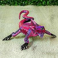Wood alebrije sculpture, 'Purple Iguana' - Wood Alebrije Iguana Sculpture in Purple from Mexico