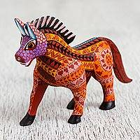 Wood alebrije figurine, 'Steadfast Horse' - Hand-Painted Wood Alebrije Horse Figurine from Mexico