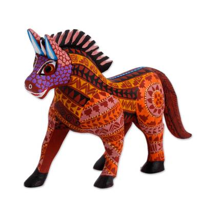 Hand-Painted Wood Alebrije Horse Figurine from Mexico