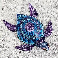 Wood alebrije figurine, 'Cool Sea Turtle' - Wood Alebrije Sea Turtle Figurine in Blue and Purple