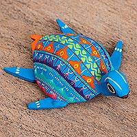 Wood alebrije figurine, 'Blue Sea Turtle' - Wood Alebrije Sea Turtle Figurine in Blue from Mexico